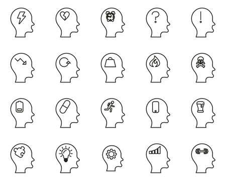 Stress & Pressure Black Icons Black & White Thin Line Set Big Ilustracja