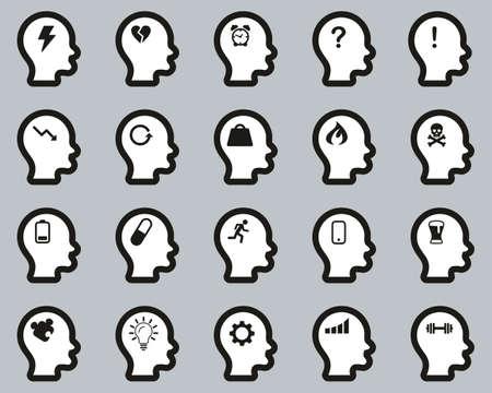 Stress & Pressure Black Icons White On Black Sticker Set Big Ilustracja