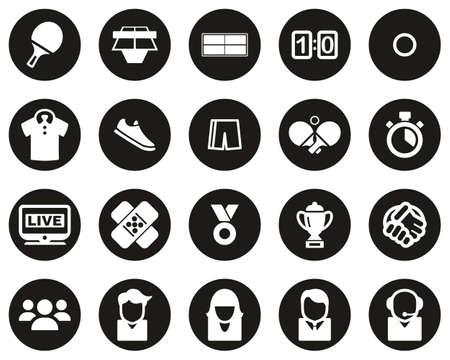 Table Tennis Sport & Equipment Icons White On Black Flat Design Circle Set Big