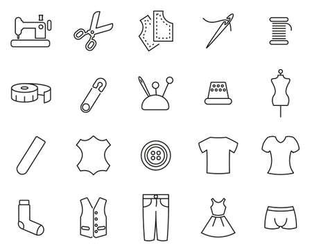 Tailor Shop Icons Black & White Thin Line Set Big