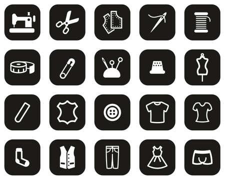 Tailor Shop Icons White On Black Flat Design Set Big