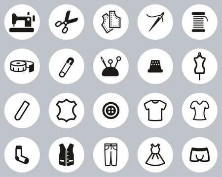 Tailor Shop Icons Black & White Flat Design Circle Set Big Vektorové ilustrace