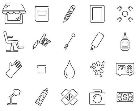 Tattoo Shop & Equipment Icons Black & White Thin Line Set Big