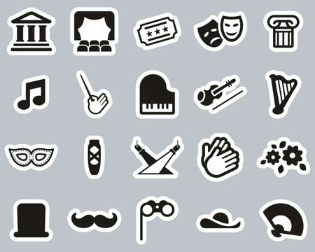 Theater Or Opera Icons Black & White Sticker Set Big
