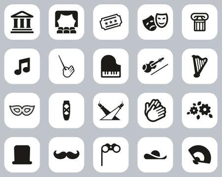 Theater Or Opera Icons Black & White Flat Design Set Big Ilustração