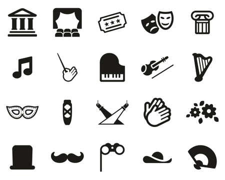 Theater Or Opera Icons Black & White Set Big