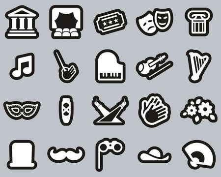 Theater Or Opera Icons White On Black Sticker Set Big