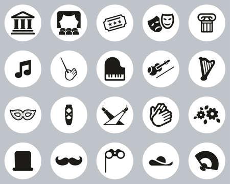 Theater Or Opera Icons Black & White Flat Design Circle Set Big
