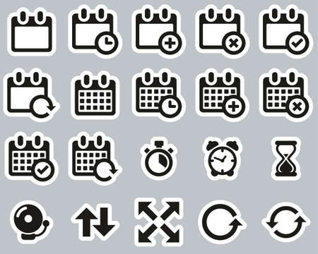 Time Or Schedule Icons Black & White Sticker Set Big