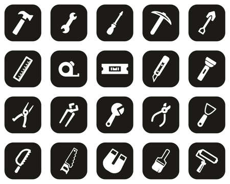 Tools Icons White On Black Flat Design Set Big 向量圖像