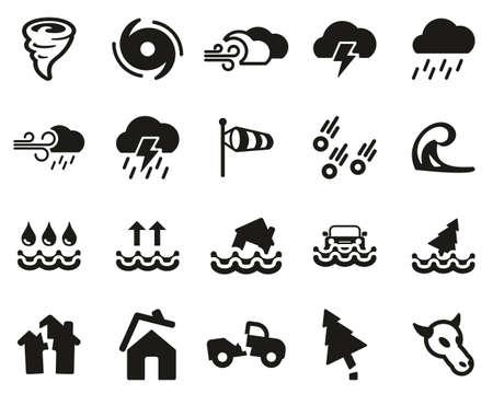 Tornado Or Hurricane Icons Black & White Set Big