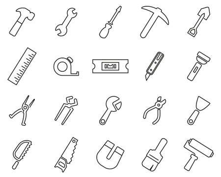 Tools Icons Black & White Thin Line Set Big