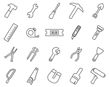 Tools Icons Black & White Thin Line Set Big