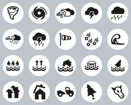 Tornado Or Hurricane Icons Black & White Flat Design Circle Set Big Illusztráció