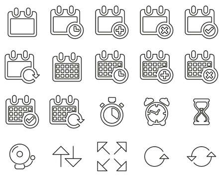 Time Or Schedule Icons Black & White Thin Line Set Big