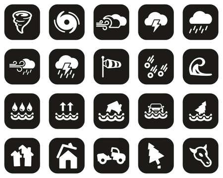 Tornado Or Hurricane Icons White On Black Flat Design Set Big