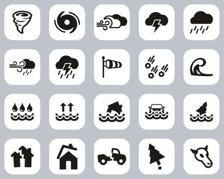 Tornado Or Hurricane Icons Black & White Flat Design Set Big
