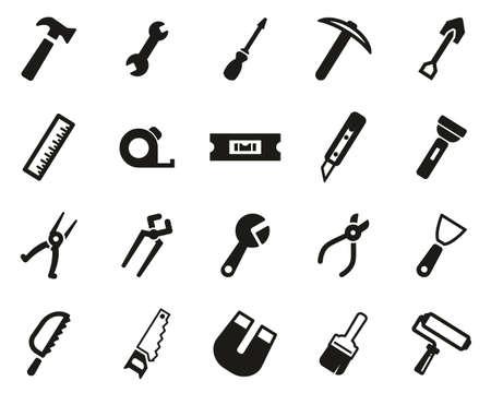 Tools Icons Black & White Set Big