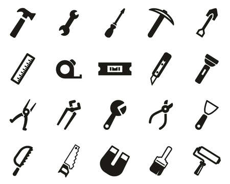 Tools Icons Black & White Set Big