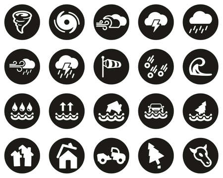 Tornado Or Hurricane Icons White On Black Flat Design Circle Set Big