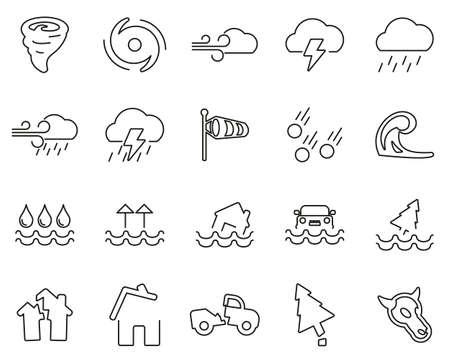 Tornado Or Hurricane Icons Black & White Thin Line Set Big