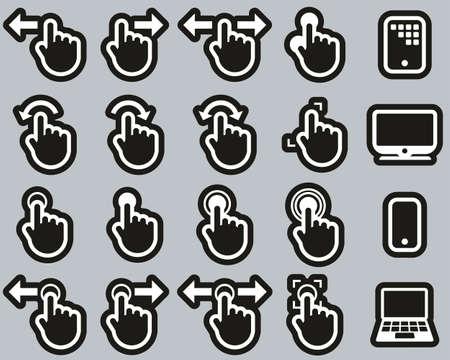 Touchscreen Icons White On Black Sticker Set Big