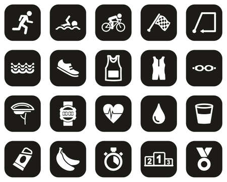 Triathlon Race & Equipment Icons White On Black Flat Design Set Big Illustration