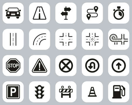 Traffic Icons Black & White Flat Design Set Big