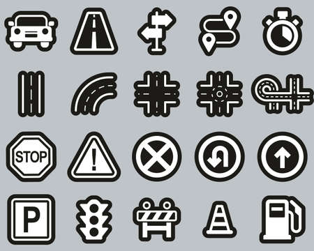 Traffic Icons White On Black Sticker Set Big Ilustração