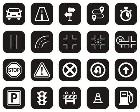 Traffic Icons White On Black Flat Design Set Big
