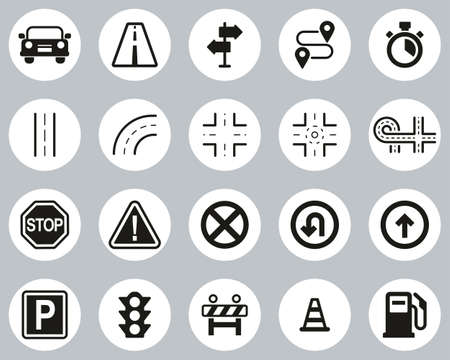 Traffic Icons Black & White Flat Design Circle Set Big