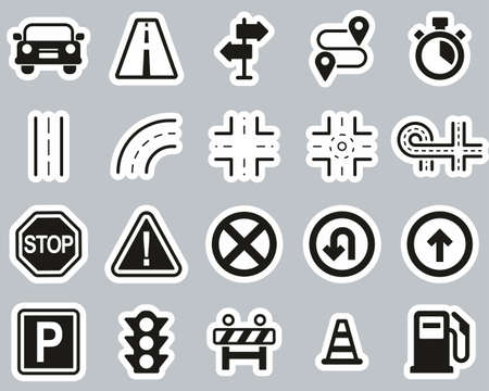 Traffic Icons Black & White Sticker Set Big Ilustração