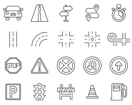Traffic Icons Black & White Thin Line Set Big Ilustração