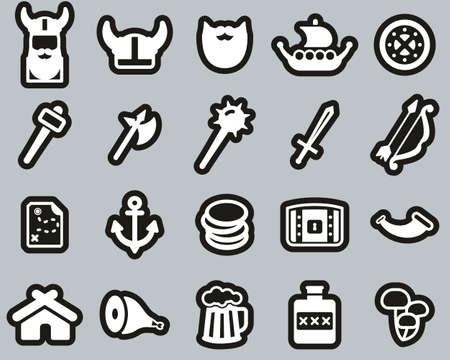 Viking Icons White On Black Sticker Set Big