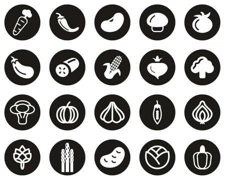 Vegetable Icons White On Black Flat Design Circle Set Big Vetores