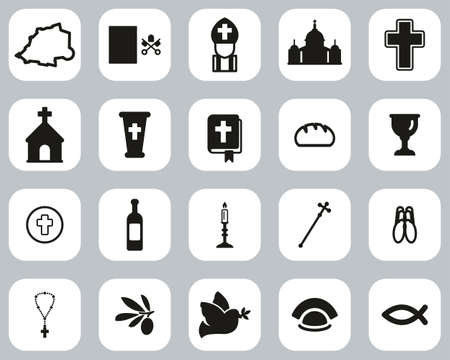Vatican Country & Culture Icons Black & White Flat Design Set Big