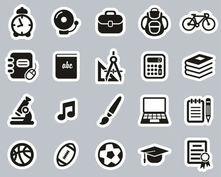 University Or College Icons Black & White Sticker Set Big Vettoriali