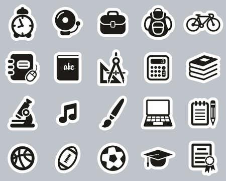 University Or College Icons Black & White Sticker Set Big Vector Illustratie
