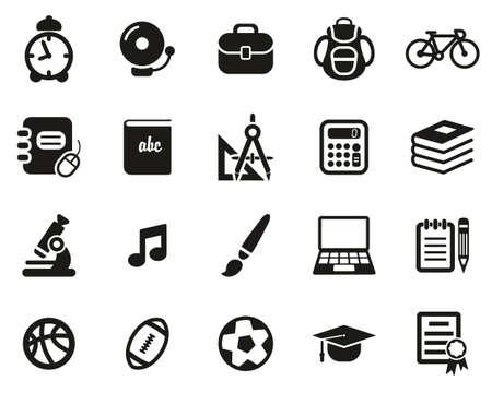 University Or College Icons Black & White Set Big