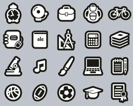 University Or College Icons White On Black Sticker Set Big Stock Illustratie