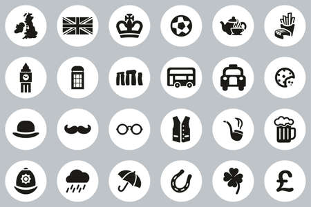 United Kingdom Country & Culture Icons Black & White Flat Design Circle Set Big Stock Illustratie