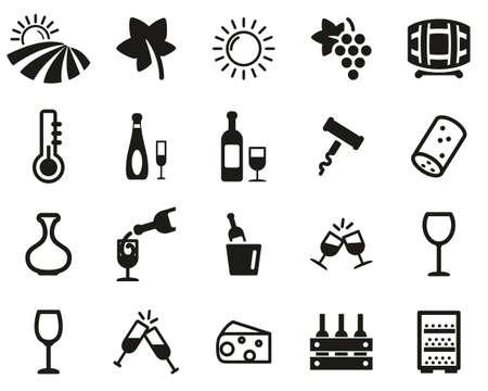 Wine Or Winery Icons Black & White Set Big