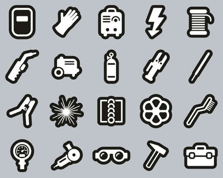 Welding & Welding Equipment Icons White On Black Sticker Set Big