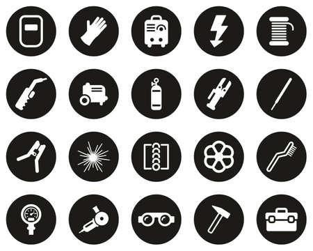Welding & Welding Equipment Icons White On Black Flat Design Circle Set Big Ilustración de vector