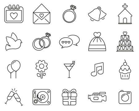 Wedding Icons Black & White Thin Line Set Big Illustration