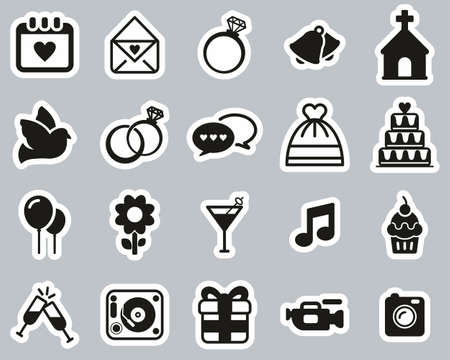 Wedding Icons Black & White Sticker Set Big Illustration