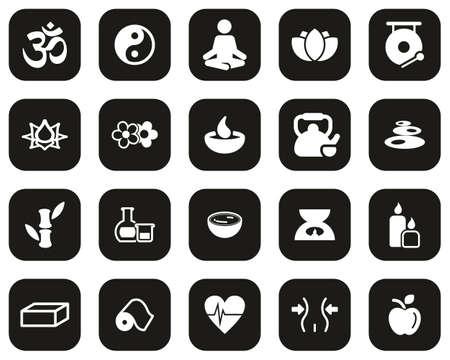 Yoga Exercise & Yoga Lifestyle Icons White On Black Flat Design Set Big 免版税图像 - 157172341