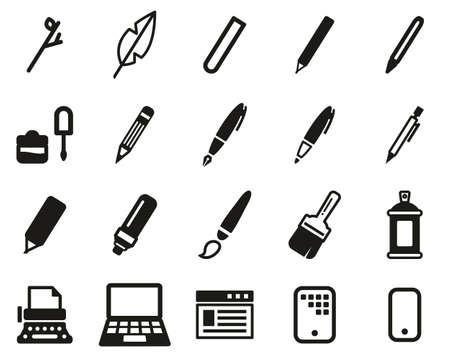 Writing Tools Icons Black & White Set Big Ilustração