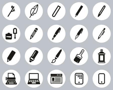 Writing Tools Icons Black & White Flat Design Circle Set Big Ilustração