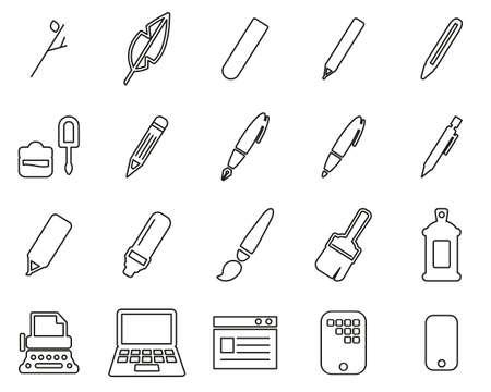 Writing Tools Icons Black & White Thin Line Set Big